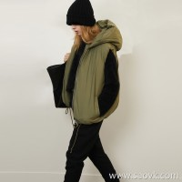 Limited special) fluffy texture Master's endings White goose down solid color hooded short goose down vest 2 colors