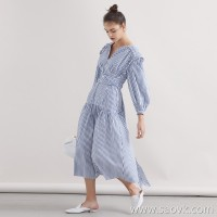Limit special] pure tail, and the same counter as a hair! Sea Soul Wind Holiday Blue and White Striped Belt Dress
