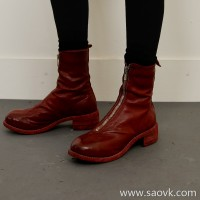 Limited special) high-end homemade advanced original leather PL2 front zipper cool horse leather ladies ankle boots (4 colors