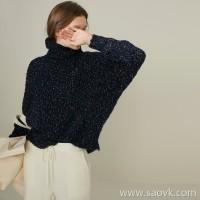 限 特]Italian JIN mouth yarn woven charm elegant color high collar pullover sweater (2 colors