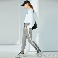 限 特] trendy sports style side contrast stripes trousers curved building materials ladies casual pants trousers