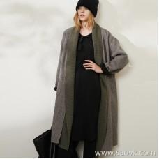 Limited to the factory clearance detachable knit collar Australian sheep hair herringbone wool coat coat
