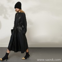 Limited special] boutique does not return without change counter 36,000 sheepskin + wool material ladies solid color dress