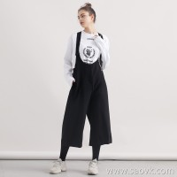 Limited edition] year-end special offer pure wool material loose pants legs solid color ladies casual pants bib