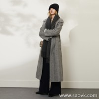 Limited special for the factory clearance classic Australian wool material solid color wool long cardigan coat (3 colors