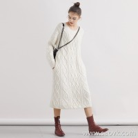 Limited pre-special] high-end homemade love crazy fist product pure ox wool white round neck pullover knit dress