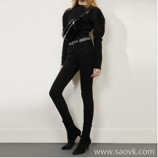 Limited pre-special] expecting shocking level slimming and comfort plus velvet CHAO slim high-elastic black jeans
