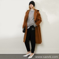Limited to the factory clearance leather belt design Australian wool long wool coat (2 colors
