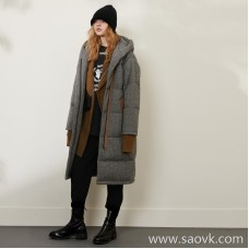 Limited pre-special] high-end homemade ZUI love recommended! Goose down long down jacket in wool outer layer