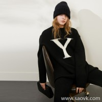 Limited special) high-end homemade thick soft soft Yangzi jacquard letter round neck pullover wool sweater 2 colors