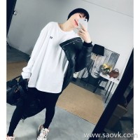 Limited special) high-end homemade couples through the embroidery letters lazy long section round neck pullover T-shirt 3 colors
