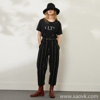 Limited special] Wang Ye produced high-grade custom fabric contrast color striped jacquard ladies strap wool casual pants