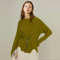 Limited special) high-end homemade delicate soft soft cashmere sweater zipper design round neck pullover sweater 4 colors