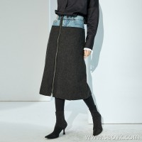 限 特] with a solid color sweater is more beautiful wool + denim fashion stitching long zip stitching A word skirt