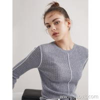 Limited edition] Limited edition Contrast seams Fine worsted cashmere pit striped round neck pullover sweater 3 colors
