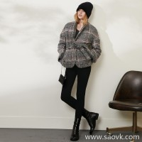 Limited) MISS HE homemade high-end master fine series British fan belt short wool cardigan coat