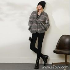 Limited) MISS HE homemade high-end master fine series British fan belt short wool cardigan coat