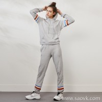 Limited special] cost-effective color stripe contrast stitching women's hooded casual trousers sports suit