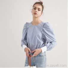 Limit special] pure tail, and the same counter as a hair! Sea Soul Wind Holiday Blue and White Striped Long Sleeve Shirt