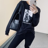 Limited special) high-end homemade too good to wear custom fabric poster printing round neck pullover long-sleeved T-shirt (2 colors