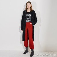 Limited special) beautiful red good pants type ladies casual pants trousers