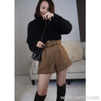 Limited edition]Italian JIN mouth fabric Thick and sturdy High-grade solid color wool shorts 2 colors