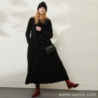 限 特]Wang Ye produced retro custom velvet fabric silk lining dark wind cat beard dress