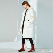 Limited special) CHAO loves the soft texture of the waist belt design white duck down filled long down jacket 3 colors