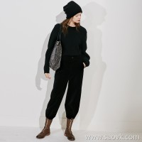 Limited special] ECHO recommended luxury CHI high-grade velveteen fabric stylish BAI solid color casual wide-leg pants