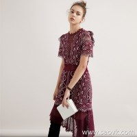 Limited special] a small amount of pure tail high-grade beautiful lace queen fan atmospheric field short-sleeved dress 4 colors