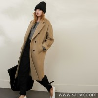 Limited special for the factory clearance models thick silhouette cold winter warm wool solid color double-breasted wool coat coat