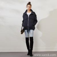 Limited pre-special] early spring new fashion cross-sleek style wash craft clothes set tied zipper cardigan sweater coat