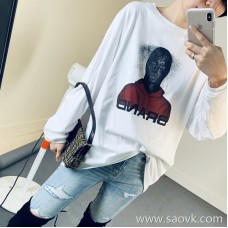 Limited special) high-end homemade couples custom-made fabrics cool avatar print round neck pullover T-shirt 2 colors