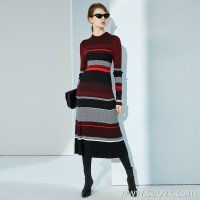Limited] very thin and high elasticity by the body to open the merino wool knit dress (3