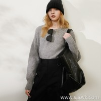 Limited special) high-end homemade fist pure yak velvet dark texture stereo jacquard sleeve long-sleeved sweater 2 colors