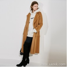 Limited special) JIN mouth high-grade fabric large pocket stitching back high fork solid color long woolen coat 4 colors