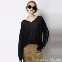 Limited edition series Custom linen early autumn new loose version V-neck pullover sweater Women's 2 colors