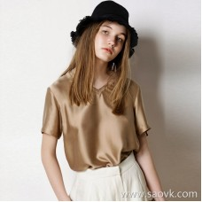 Limited special) Hong Kong factory out of soft and high-grade women's short-sleeved hooded solid color silk top (4 colors