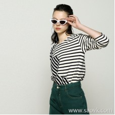 Limited] high-end niche designer High quality recommended double color stripe pattern stitching long sleeve round neck T-shirt