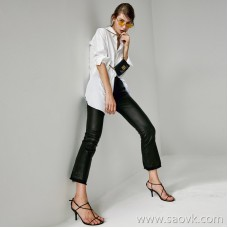 Limited pre-special] comfortable high-elastic French stretch leather trousers double material stitching design female seven-point trumpet leather pants