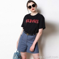 Limited special] pure tail does not turn single 2018 summer new hit color English letter round neck solid color casual short sleeve T2 color