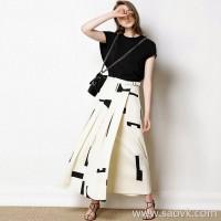 限 特) Elegant Goddess Van Danged Acetate Fabric Three-dimensional Contrast Color Block Ladies Skirt Maxi Dress