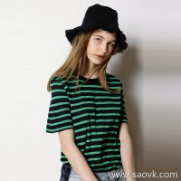 Limited special] special comfortable contrast stripes silk modal ladies casual round neck short-sleeved T-shirt (2 colors