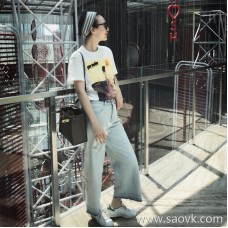 Limited special) high-end homemade two shopkeepers love trousers female casual denim wide-leg pants 2