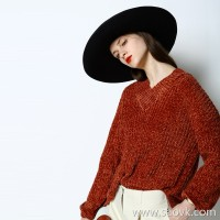 Special limited) Beautiful ~ soft and soft feeling Special yarn V-neck pullover sweater Women's wear (3 colors