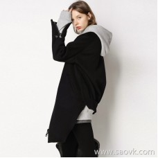 Limited special) high-end homemade! Limited! CHAO has a sense of design, long and short sleeved woolen coat