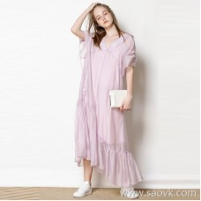 Limited special] high quality and low price smart V-neck cut copper ammonia material solid color dress long skirt (2 colors