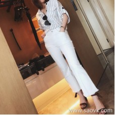 Limited special) high-end homemade blast thin elastic pants small trumpet casual cropped trousers 2