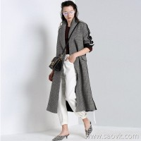 Limited special] high cost and handsome profile cut before and after material stitching ladies casual long coat jacket