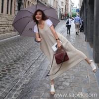 Limited special) high-end homemade broken million praises feedback Chao praised high-grade custom linen vest dress 2